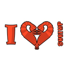 I love shrimp Symbol of heart of an underwater vector image