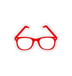 Icon sticker realistic design on paper sunglasses vector