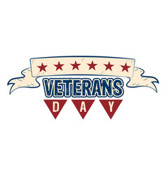 isolated retro veteran day label vector image