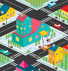 Isometric couple residential view cartoon theme vector
