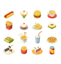 isometric fast food 3d icons set flat design vector image