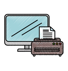 laptop computer with printer vector image