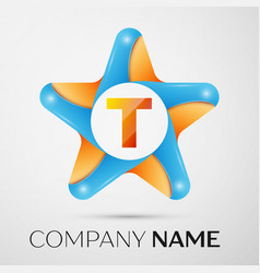 Letter t logo symbol in the colorful star on grey vector