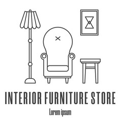 line style icons a armchair lamp stool picture vector image