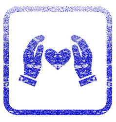 Love heart care hands framed textured icon vector