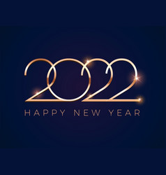 luxury 2022 happy new year greeting card - golden vector image