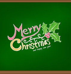 Merry christmas drawing on chalkboard vector image