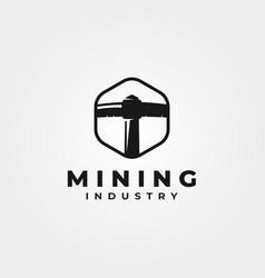 mining coal pickaxe logo vintage symbol design vector image