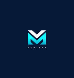modern letter type mv blue logo shape vector image