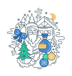 Modern line flat design Christmas vector
