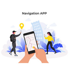 navigation app mobile application with map route vector image