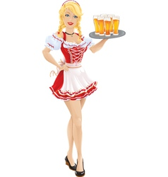 Oktoberfest girl with tray of beer vector image
