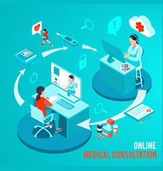 Online medical consultation isometric vector