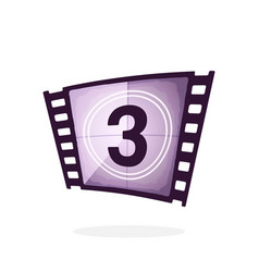 part retro film strip with countdown timer vector image