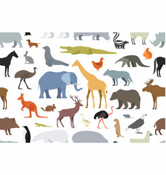 Pattern with different animals vector