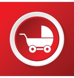 Pram icon on red vector