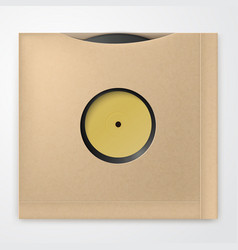 realistic vinyl record with carton cover retro vector image
