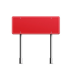 Red rectangle road sign with blank copy space for vector