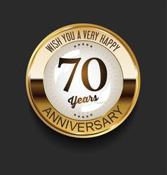 Retro vintage style anniversary golden design 70 vector