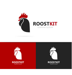 Rooster and cock logo combination vector