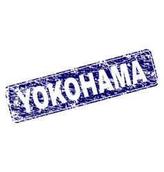 Scratched yokohama framed rounded rectangle stamp vector