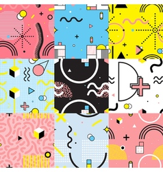 Seamless Patterns Set Memphis Style vector image