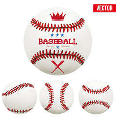 set baseball leather balls vector image