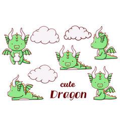 Set cute kawaii hand drawn green dragon doodles vector