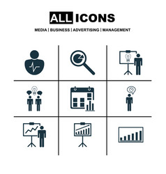 Set of 9 board icons includes project analysis vector