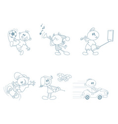set of childrens characters vector image