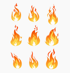 Set of fire flames icons on vector