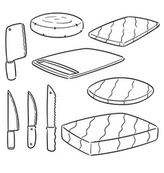 set of knife and chopping block vector image