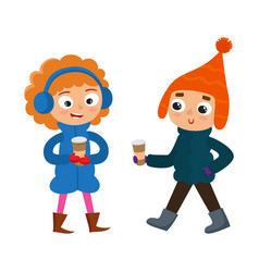 set of young teenage in winter clothes with coffee vector image