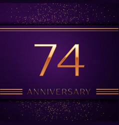 seventy four years anniversary celebration design vector image