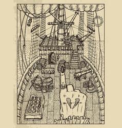 Ship mystic concept for lenormand oracle tarot vector