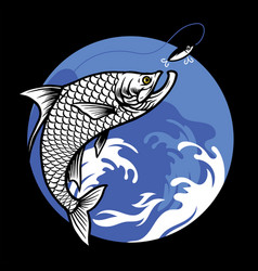 shirt design fishing tarpon fish vector image
