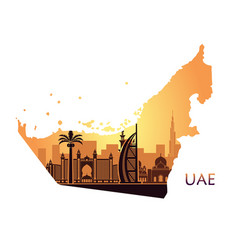 skyline dubai with camel in form a map vector image