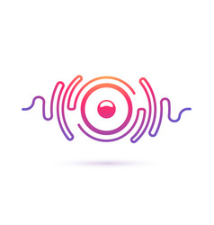 sound speaker and waves isolated icon vector image