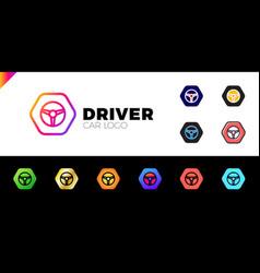 steering wheel in hexagon icon logotype driver vector image