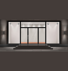 Storefront empty illuminated showroom vector