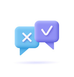 survey reaction icon check and cross symbols vector image