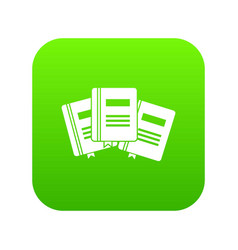 three books with bookmarks icon digital green vector image