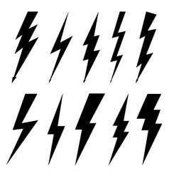 thunderbolt icons isolated on white background vector image