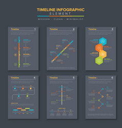 timeline infographic set template vector image