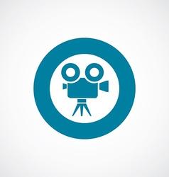 Video camera icon bold blue circle border vector