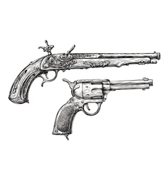 Vintage Gun Retro Pistol Musket Hand-drawn vector