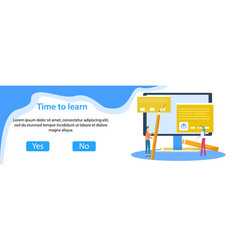 web banner e-learning with tiny students vector image