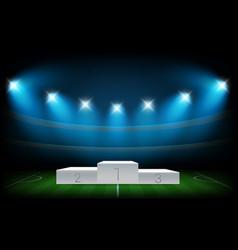 white illuminated sport podium soccer arena vector image