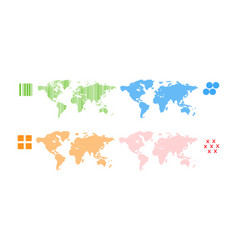 World map set patern different shapes color vector