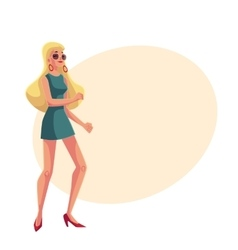 Young blond woman in short 1960s style dress vector image